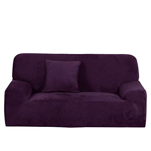 uxcell Velvet Plush Sofa Cover Loveseat Couch Slipcover, Machine Washable, Stylish Furniture Protector Covers with One Cushion Case (2 Seater, Purple)