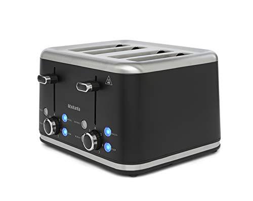 Grille-pain Brabantia [BBEK1031NMB] noir - 4 tranches - fente longue, 7 réglages de grillage, sans BPA, fonction bagel, tiroir ramasse-miettes, fonction décongélation, bouton d'arrêt