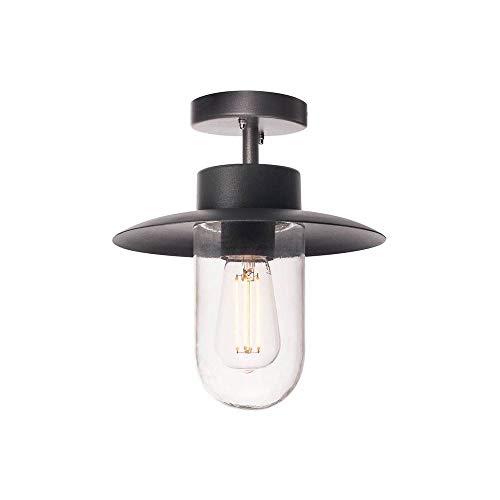 SLV LED Deckenlampe MOLAT, anthrazit, für eine effektvolle Außenbeleuchtung | LED Deckenleuchte, Außen-Strahler, Aussenleuchte, Garten-Lampe industriell, Gartenleuchte | E27, max. 60W, IP44, EEK E-A++