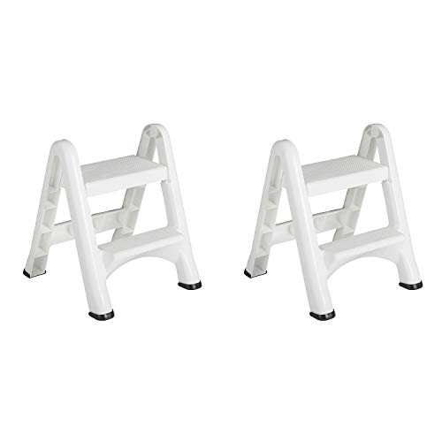 Rubbermaid FG420903WHT EZ Two Step Durable Folding Plastic Ladder Step Stool with Skid Resistant Foot Pads, White (2 Pack)