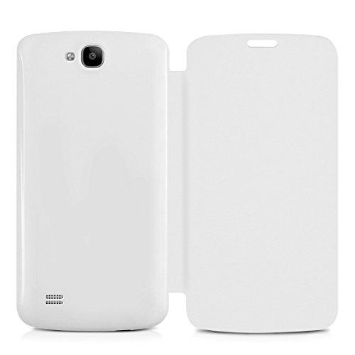kwmobile Flip Case Hülle für Huawei Honor Holly - Aufklappbare Schutzhülle Tasche im Flip Cover Style in Weiß - 3