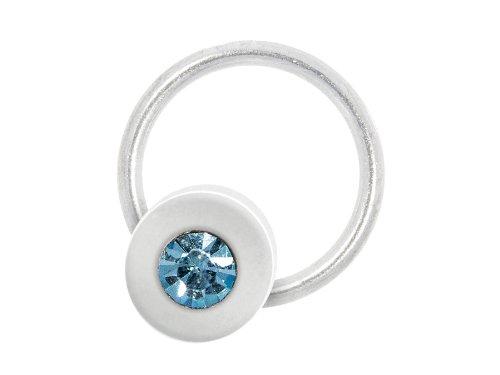 Nagelpiercing Scheibe silber mit Stein türkis - 925 Sterling Silber - Nageldesign Nailart Finger Fuß Nagel Piercing