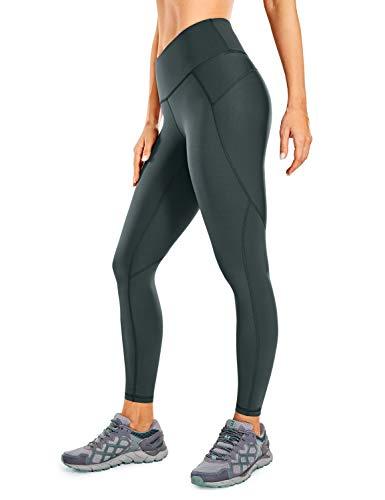 CRZ YOGA Non See-Through Compression Leggings for Women Hugged Feeling 7/8 Workout Leggings Running Tights-25 Inches Melanite 25'' - R424 Running Medium