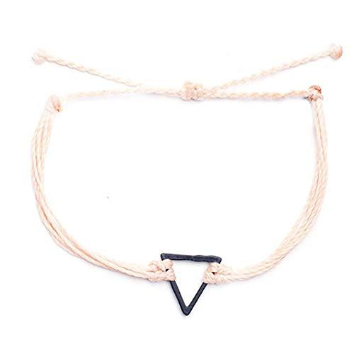 DMUEZW armbanden voor vrouwen Nieuwe punk Handgemaakte Bladeren Armband femme Parfums Sieraden Waxed Touw Driehoek bedels Armband