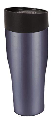 Steuber Thermo Trinkbecher 400 ml aus Edelstahl metallic-grau, Winter Sportflasche mit Schraubverschluss, doppelwandige Thermoflasche