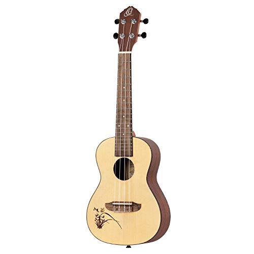 Ortega Guitars Konzert Ukulele - Linkshänder - Bonfire Series - Fichtendecke mit lasergaviertem Motiv (RU5L)