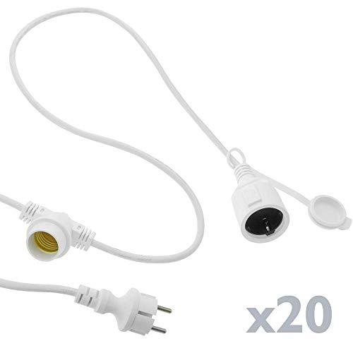 PrimeMatik - Slinger 20 gloeilampen met stopcontact E27 buiten IP44 elektrische kabel 20m verlengbaar wit