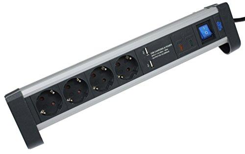 as - Schwabe 4-fach Überspannungs-Aluminium-Steckdosenleiste mit Schalter und erhöhtem Berührungsschutz, 2 USB Ports, 1,5 m Kabel, Schuko-Stecker, 1 Stück, weiß, 18361