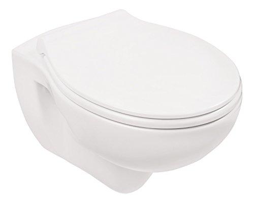 Wand-WC-Set Jonas | Spülrandlos | Inklusive WC-Sitz | Tiefspüler | Weiß | Spülrandlose Toilette | Spülrandloses Hänge-WC | Hängetoilette | Hygiene Plus | einfache Reinigung - 6