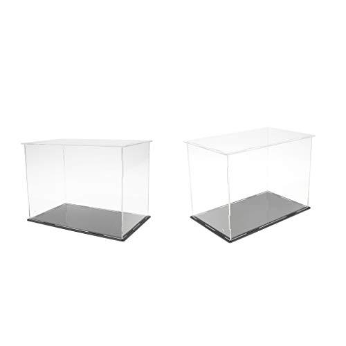 B Blesiya 2 Pieza Vitrina de Acrílico Transparente Caja Expositora Estuche de Exhibición Anti-Polvo para Modelo de Coches Figuras en Miniatura 3D