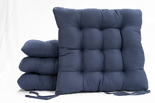 Bemitus Set di 4 cuscini per sedia e seduta, con imbottitura in fibra di poliestere con strisce di legatura, 9 impunture, realizzati in Spagna di poliestere, ipoallergenici Oeko-Tex (38 x 38 cm, blu)