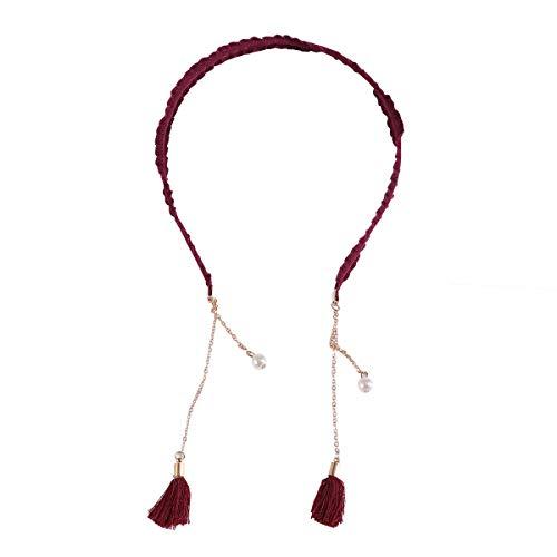 Banda para el cabello Pendientes falsos de la borla dulce de Corea Tocado de la venda de la horquilla (rojo de vino, color de cadena al azar)