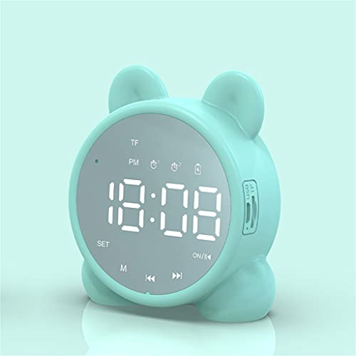 ZXYZD zxyzb Despertador con Altavoz Bluetooth, Despertador de cabecera para Dormir, Temperatura de Despertador Digital, Alarma de repetición (Color : Green, Size : As Shown)