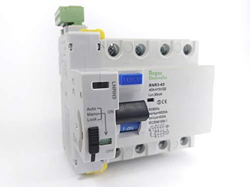 Interruptor Diferencial Trifasico (3P+N) Auto Rearmable Super Inmunizado SI de 40A Tipo A, 6Ka 30ma