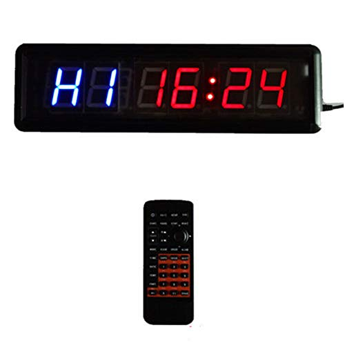 Remote Fitness Crossfit Interval Training Timer Clock Best for Gym HIIT Boxing and Tabatha Workouts, Larger LED Digital Wall Clock Stopwatch