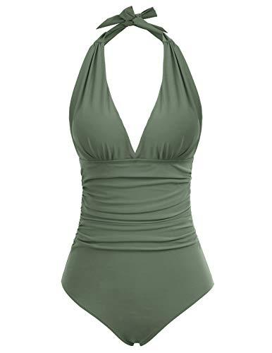 Zexxxy Costumi da Bagno per Donne Tummy Control Un Pezzo Imbottito con Gamba Alta Halter Bikini Swimwear (Green, M)