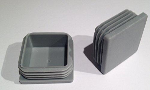 ( 4 Stück ) 55x55 mm (Aussen, WS: 2 - 4,5) Rohrstopfen / Stuhlstopfen / Gleiter / Kappe / Lamellenstopfen / GRAU
