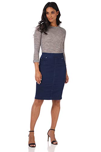 Rekucci Jeans Women's Ease into Comfort Pull-On Stretch Denim Skirt (12,Ink Blue Rinse)