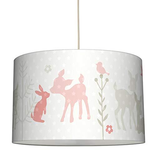 lovely label Hängelampe HÄSCHEN & REHE APRICOT/GRAU/BEIGE – Lampenschirm für Kinder/Baby, Schirm mit Rehkitz, Hasen und Sternen – Komplette Hängeleuchte für Kinderzimmer Mädchen & Junge