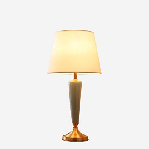 Lámpara de mesa creativa American Ceramic lámpara de mesa de cobre octogonal de tela hecha a mano de cabecera E27 lámpara de escritorio con el botón del interruptor for la sala Lámpara de escritorio