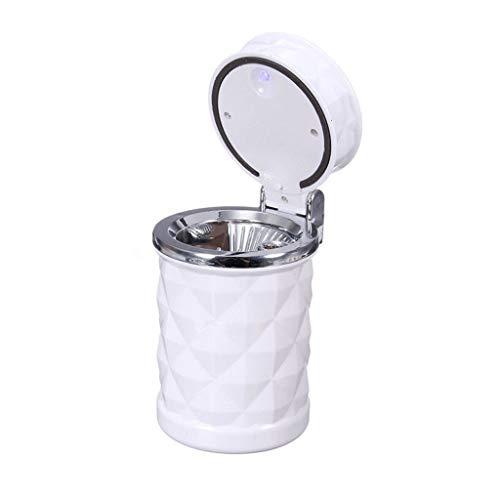 XZJJZ Cenicero de Coche portátil para Coche, cenicero Led para Cigarrillos con Tapa, portavasos, Viaje, Cigarrillo automático, Quitar el Humo del cenicero (Color : White)