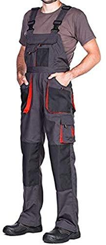 Pantalones de Trabajo para Hombre, Pantalon de Seguridad, Pantalones con Peto de Trabajo para Hombre, Ropa Hombre, Bolsillos Multiusos, S - 3XL, con Rodilleras Trabajo. (XXXL, Negro/Naranja)