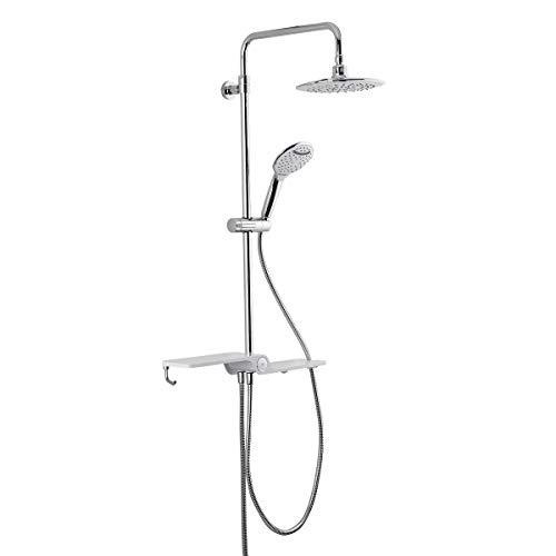 Swiss Aqua Technology Douchesysteem met thermostaatmengkraan en anti-verbranding douchesysteem, regendouche en handdouche, met klein rek van glas hendel Zonder thermostaat.