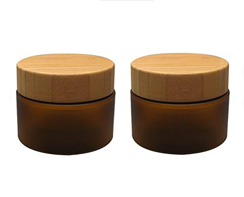 ericotry Kosmetikbehälter, 150 ml, PET, bernsteinfarben, Kunststoff, mit Deckel aus natürlichem Bambus, für Creme, Lotion, Salben, Essen, Flaschen, Make-up, Behälter, 2 Stück