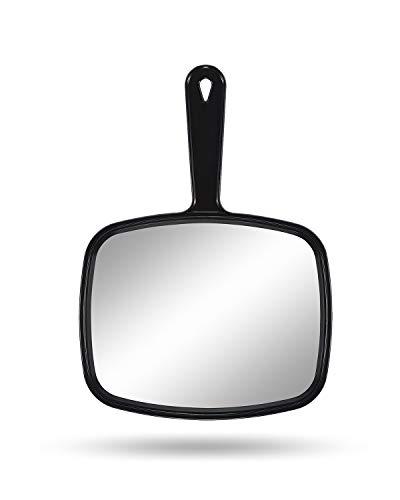 Gladmart Hand Mirror Salon Barber Hairdressing Handheld Mirror with Handle(Square Black)