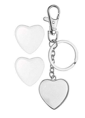 Glorex 6 1633 024 - Cabochon Schlüsselanhänger silber, doppelseitig herzform, ca. 32 mm