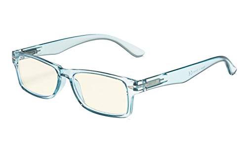 Eyekepper Lunettes de Vue/lunette ordinateur Protection UV Anti-eblouissement/rayons bleus Resistant anti-rayures (Bleu/lumière Lentille teintée jaune)+1.50