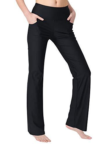 Zeronic Women's Bootleg Yoga Pants with Pockets Long Bootcut Workout Running Pants Tummy Control Pockets Work Pants for Women(Black,XL)