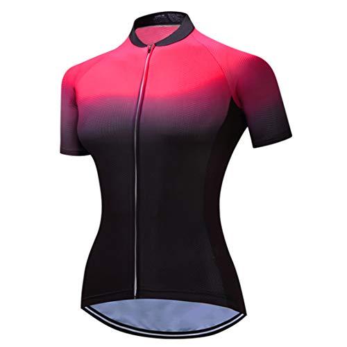 Weimostar - Maillot de ciclismo para mujer de manga corta con cremallera...