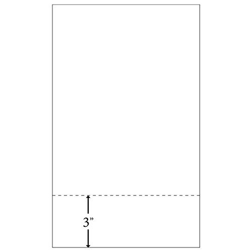 8-1/2' x 14' Laser Cut Sheet, 24# White Stock, 1 Horizontal Perforation 3' from Bottom (Carton of 2500)