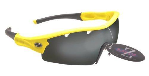 Rayzor Professionnel léger UV400 Jaune Sport Wrap Cricket Lunettes de Soleil, avec Un 1 Piece ventilé fumé Miroir Anti-éblouissement Lens.
