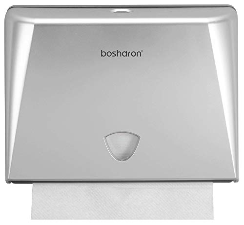 Bosharon Paper Towel Dispenser Wall Mount, Multifold Paper Towel Dispenser Commercial, C Fold Paper Towel Dispenser, Tissue Holder for Home, Kitchen, Office, Business (Silver)