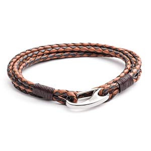 Men's Leather Bracelet, 2-Tone Tan+Brown, Braided Double Wrap, Stainless Steel Shrimp Clasp, 21cm Standard Size Bracelet for Men by Tribal Steel