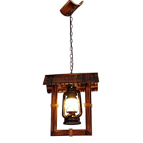 NAMFMSQ Amerikansk landskrona Glaskrona E27 Kinesisk Retro nostalgisk hängande lampa Bambulykta Antik upphängning Hängande Restaurang och bar Dekoration Belysning