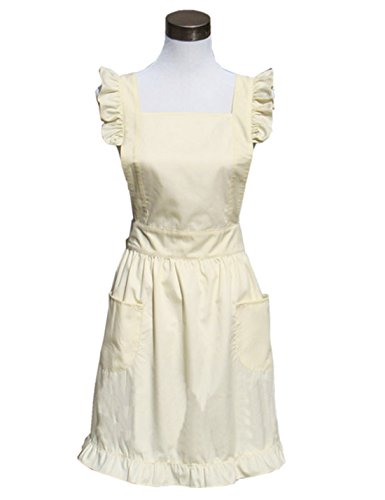 Hyzrz Cute Lovely Cotton Retro Kitchen Cooking Aprons for Women Girls Vintage Baking Sexy Victorian Apron with Pockets for Gift (Gold)