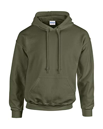 Gildan Herren Adult 50/50 Cotton/Poly. Hooded Sweat Sweatshirt, Gr. L, MillitaryGreen