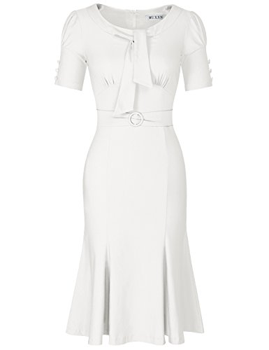 MUXXN Celebrity Fashion Knee Length Going Out Office Occasion Dress (White XXL)