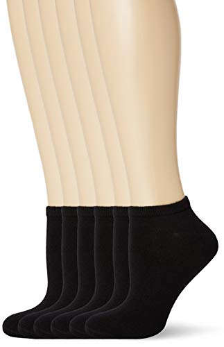 FM London Bamboo Trainer Calcetines, Negro (Black 01), Talla Única (talla del fabricante: UK 4-8 EU 37-42) (Pack de 6) para Mujer