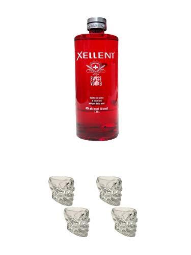 Xellent Swiss Vodka 1,75 Liter + Wodka Totenkopf Shotglas 2 Stück + Wodka Totenkopf Shotglas 2 Stück
