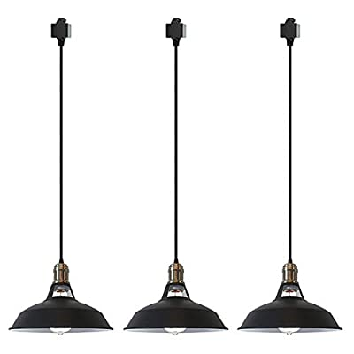 STGLIGHTING 3-Pack H-Type Track Light Dimmable Pendants 4.9ft Black Cord Black Lampshade Restaurant Chandelier Decorative Pendant Light Industrial Factory Pendant Lamp Customizable Bulb Not Included