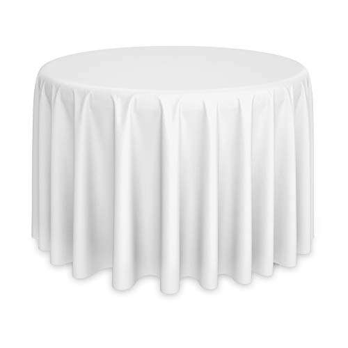 Lann's Linens - 120 Round Premium Tablecloth for Wedding / Banquet / Restaurant - Polyester Fabric Table Cloth - White