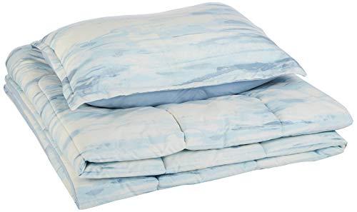 Amazon Basics Reversible Comforter Set, Twin / Twin XL, Blue Watercolor, Microfiber, Ultra-Soft