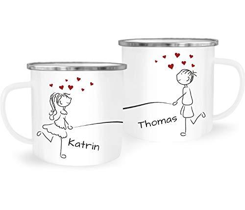 SpecialMe® Emaille-Tasse mit Namen Liebes-Paar Strichmännchen Motiv personalisierbar Liebesgeschenke Valentinstag Weihnachten (1 Tasse) Variante 3 weiß-metall Emailletasse