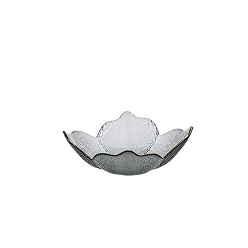 MQH Cesta de Frutas Cuencos de Frutas de Cristal, Placa de Fruta de pétalo Phnom Penh de Lujo Ligero, Cesta de Frutas secas Creativas, Plato de Caramelo de Sala de Estar Pisos Cuencos (Color : Soot)