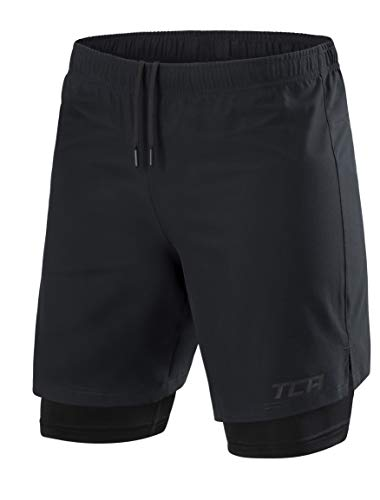 TCA Ultra Laufhose Herren 2-in-1 - Kurze Sporthose/Trainingshose/Laufshorts mit integrierter Kompressionshose und Reißverschlussfach - Anthracite (Schwarz), M