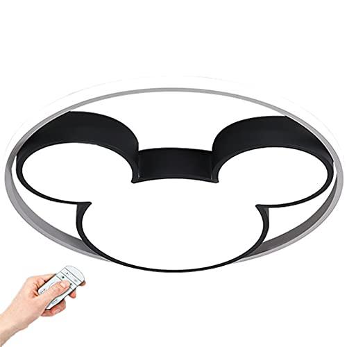 LINCCW Regulable con mando a distancia Lámpara de guardería DIRIGIÓ Negro Mickey Mouse Lámpara de techo Creativo Moderno Decoración Focos Techo Moda Acrílico planchar Para Niña Chico Cuarto 40W 2800lm